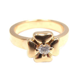 Chanel 18K Yellow Gold Diamond Four Leaf Clover Ring