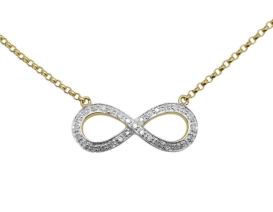 "Image of ""10K Yellow Gold Sideway Infinity Love Round 16in .25ct Diamond Ladies"""