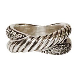 David Yurman Sterling Silver Pave Diamond Cable Crossover Ring Size 4.5