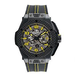 Hublot Big Bang Ferrari Chronograph Black Ceramic Skeleton Dial Black Leather 45mm Mens Watch