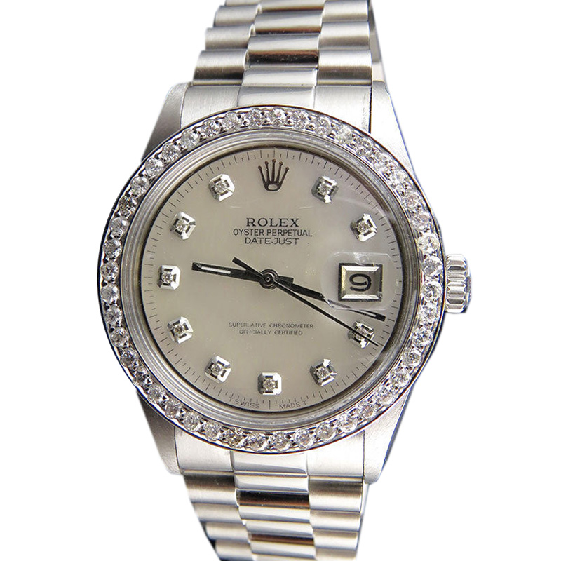 "Image of ""Rolex 2.5 Ct Stainless Steel Datejust Presidential 36mm Mother Pearl"""