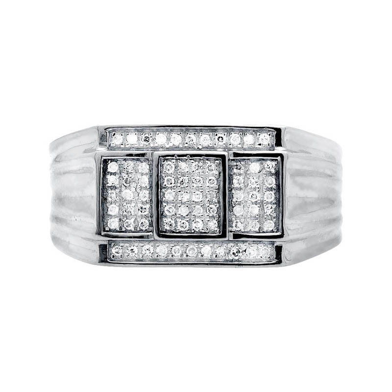"Image of ""10K White Gold Three Cube Window Composite Genuine Diamond Ring Band"""