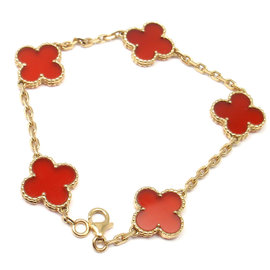 Van Cleef & Arpels 18k Yellow Gold Carnelian Alhambra Bracelet