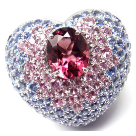 Pasquale Bruni 18K White Gold Sapphire and Pink Tourmaline Ring