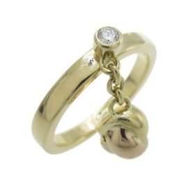 Cartier 18K Yellow White and Pink Gold Diamond Baby Trinity Ball Ring Size 6