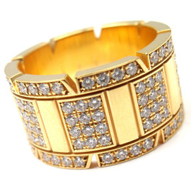 Cartier 18K Yellow Gold Large Model Tank Francaise Diamond Band Ring Size: 6 3/4