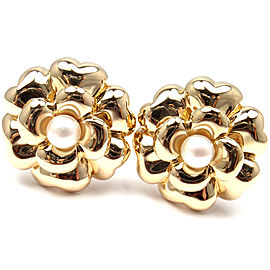 Chanel 18K Yellow Gold Pearl Large Flower Earrings