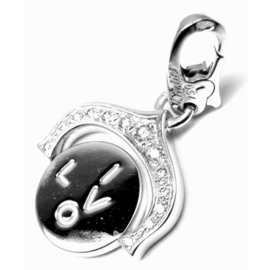 Cartier 18K White Gold Diamond I Love You Charm Pendant