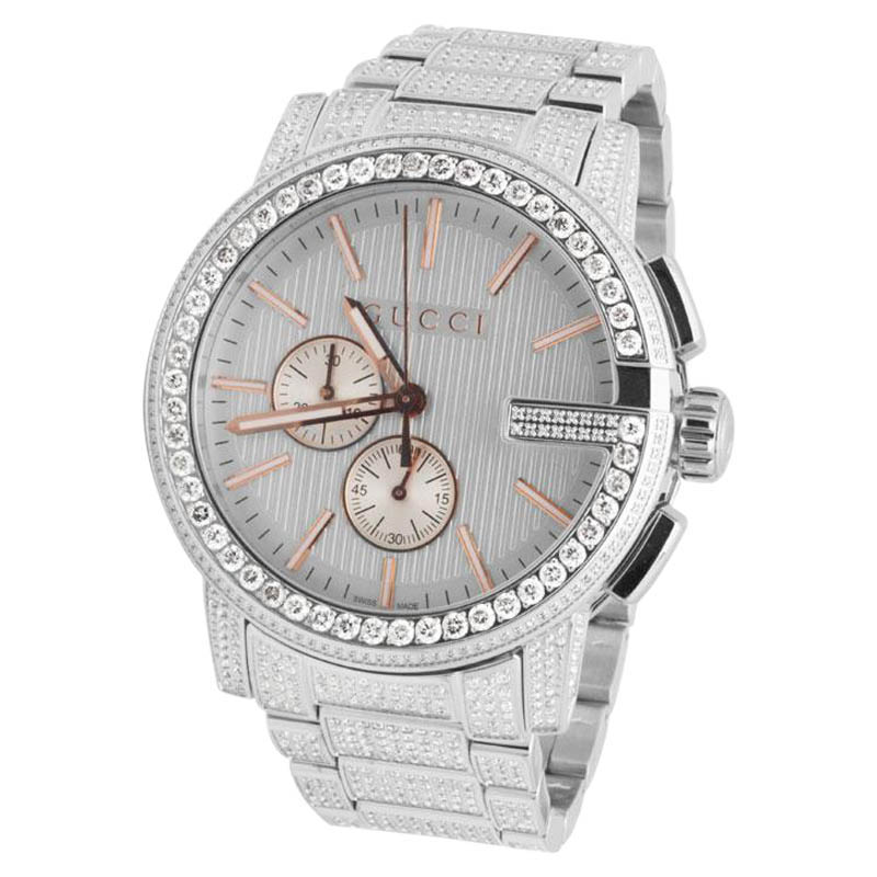 "Image of ""Gucci 101 G-Chrono Ya101201 Rose Gold Dial 14.0ct Diamond Mens 44mm"""