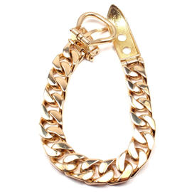 Hermes 18K Yellow Gold Curb Link Chain Buckle Bracelet