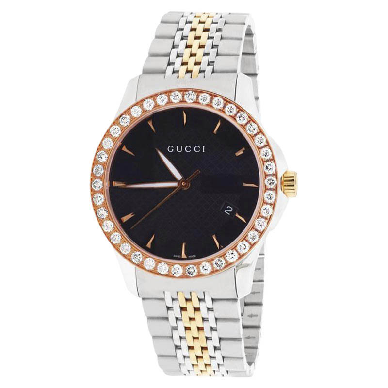 "Image of ""Gucci 101 G-Timeless Ya126410 Stainless Steel & Rose Gold Black Dial"""