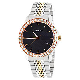 Gucci 101 G-Timeless YA126410 Stainless Steel & Rose Gold Black Dial with 2.0ct. Diamond 38mm Unisex Watch