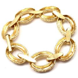 Van Cleef & Arpels 18K Yellow Gold Textured Link Bracelet