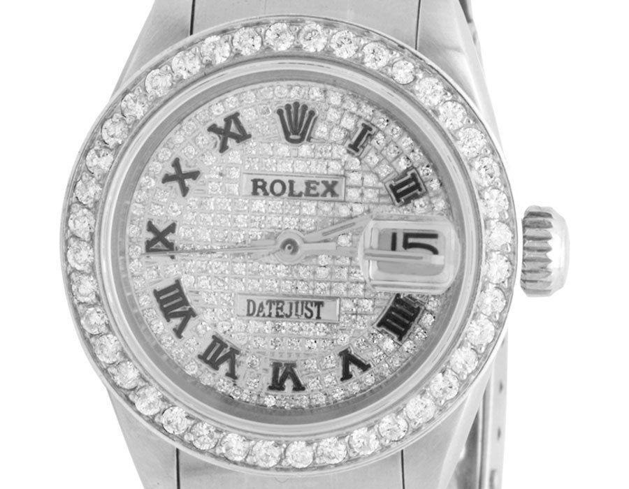 """Image of """"Rolex Datejust Stainless Steel Oyster Diamond Pave Dial 26mm Watch"""""""