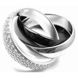 Cartier Trinity Platinum 18K White Gold Ceramic Diamond Band Ring