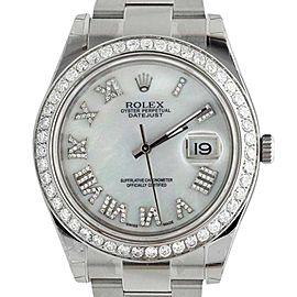 Rolex Datejust II 2 White Mother of Pearl Roman Diamond Watch
