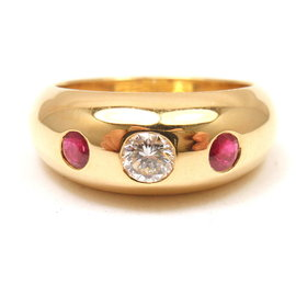 Cartier 18K Yellow Gold Ruby Diamond Band Ring Size 6.25