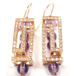 Versace Fedra 18K Rose Gold Diamond Amethyst Earrings