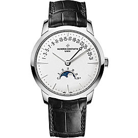 Vacheron Constantin Patrimony 18K White Gold & Leather with Silver Dial Automatic 42.50mm Mens Watch