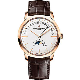 Vacheron Constantin Patrimony 18K Rose Gold & Leather with Silver Dial Automatic 42.50 Mens Watch