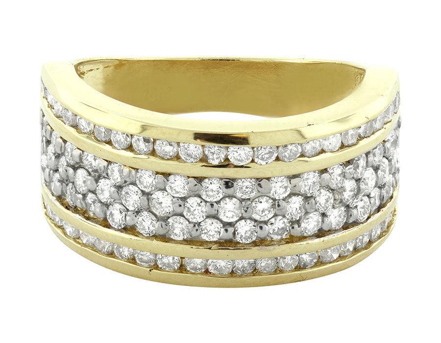 "Image of ""14K Yellow Gold Three Channel Round Diamond Wedding Band"""