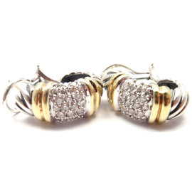 David Yurman Pave Shrimp 18K Yellow Gold Sterling Silver 48 Diamond Earrings