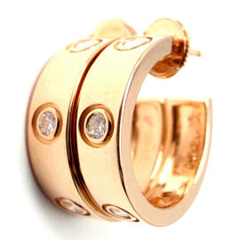 Cartier 18K Rose Gold Love Diamond Hoop Earrings