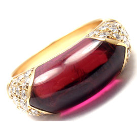 Bulgari 18K Yellow Gold Diamond Pink Tourmaline Ring