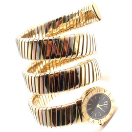 Bulgari 18K Tricolor Gold Tubogas Serpent Bracelet Womens Watch
