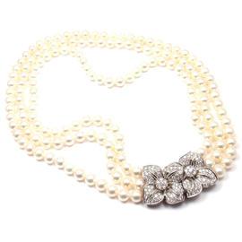 Mikimoto Platinum Diamond Triple Stand Cultured Akoya Pearl Necklace
