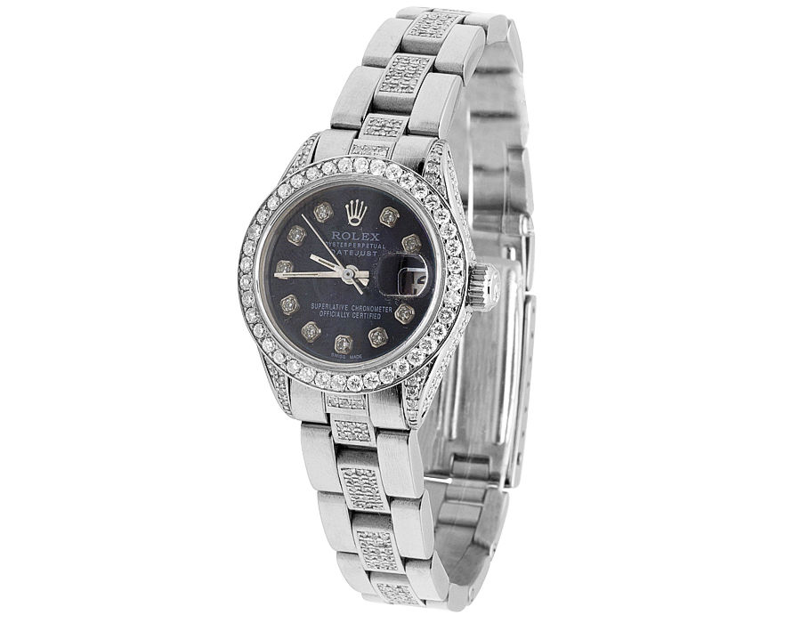 """Image of """"Rolex Datejust Stainless Steel Oyster Black Dial Diamond Womens Watch"""""""