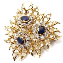 Buccellati 18K Yellow Gold Diamond Sapphire Large Pin Brooch