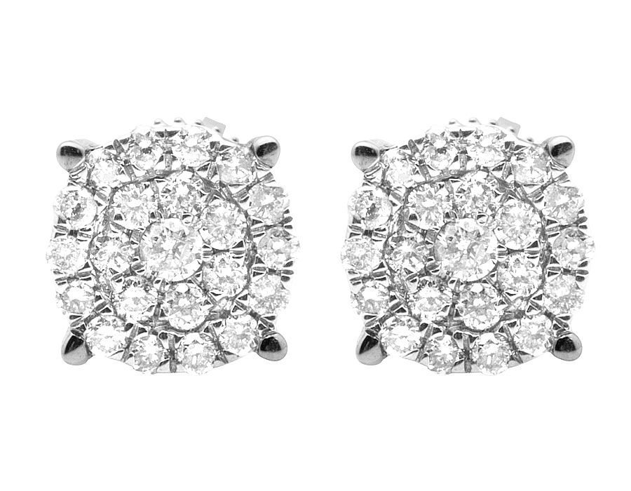 """Image of """"10K White Gold 0.12ct. Diamond Round Cluster Studs Earrings"""""""