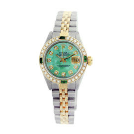 Rolex Datejust 6917 18K Yellow Gold & Stainless Steel Green Mother of Pearl Dial 26mm Womens Watch
