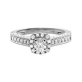 14K White Gold Halo Solitaire Genuine 1ct. Diamond Engagement Ring