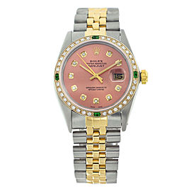 Rolex Datejust 16013 Two-Tone Salmon Pink Dial Diamond & Emerald Mens 36mm Watch