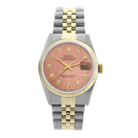 Rolex Datejust 16013 Two-Tone Salmon Pink Dial Fluted Bezel 36mm Mens Watch