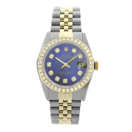 Rolex Datejust 16013 Two-Tone 18K/Stainless Steel Diamond Bezel Blue Dial Mens 36mm Watch