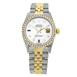 Rolex Datejust 16013 White Pearl Dial White Diamonds & Blue Sapphire Mens 36mm Watch