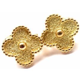 Van Cleef & Arpels Alhambra 18K Yellow Gold Vintage Earrings