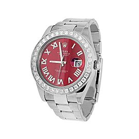 Rolex Datejust II 116300 Stainless Steel Red Roman Dial 4.50 Ct Diamond 41mm Watch
