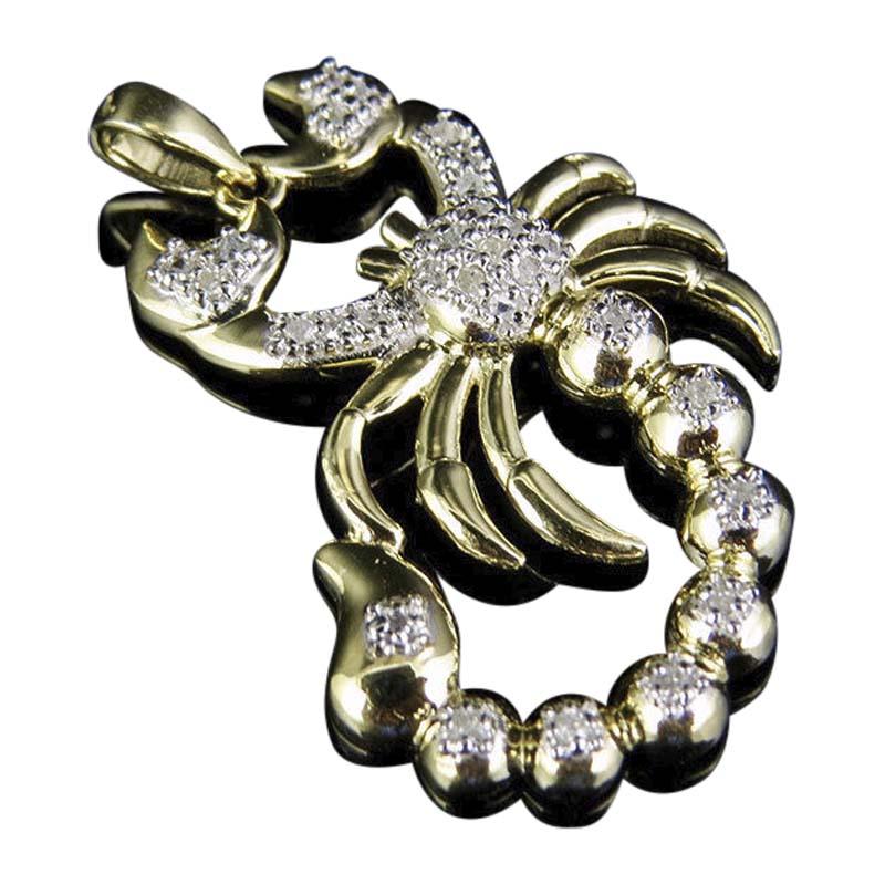 "Image of ""10K Yellow Gold Scorpio Zodiac Animal 0.50ct Diamond Pendant Charm"""