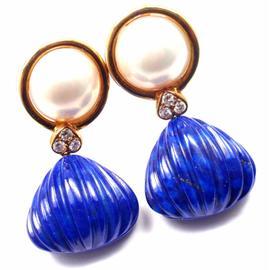 Christian Dior 18K Yellow Gold Diamond Lapis Mabe Pearl Earrings