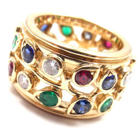 Cartier 18K Yellow Gold Diamond Sapphire Emerald Ruby Wide Band Ring Size 5 1/4