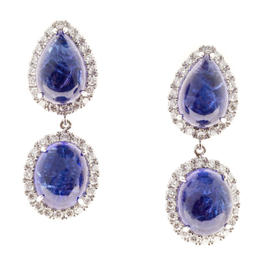Peter Suchy 18K White Gold Tanzanite & Diamonds Dangle Earrings