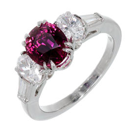 Peter Suchy Platinum Red Ruby & Diamond Engagement Ring Size 6.75