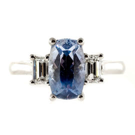 Peter Suchy Platinum with 2.79ct. Sapphire and 0.60ct. Diamond Ring Size 6.5