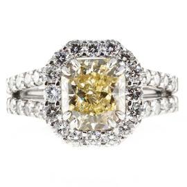 Peter Suchy Platinum Yellow Diamond Ring Size 6 1/2