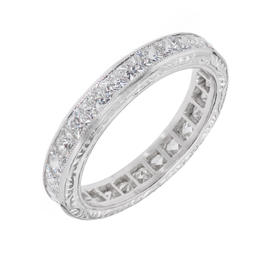 Peter Suchy Platinum Diamond Eternity Band Ring Size 6.25