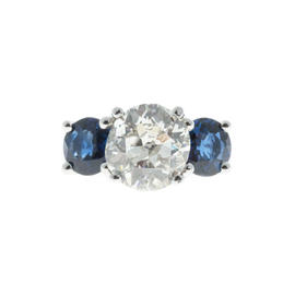 Peter Suchy Platinum 3.40ct. Diamond and 3.60ct. Sapphire Ring Size 6.25